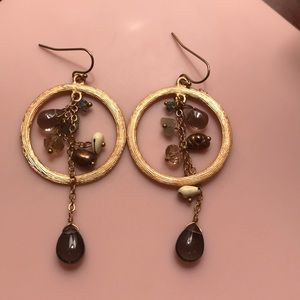 Anthropologie Small Gold Hoop w/ Stones